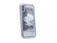 Husa TPU Disney Winnie The Pooh 008, Liquid Glitter, Pentru Apple iPhone X, Argintie, Blister