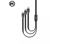 Cablu Date si Incarcare USB la Lightning - USB la MicroUSB - USB la USB Type-C WK-Design, WDC-010, 1 m, Negru, Blister