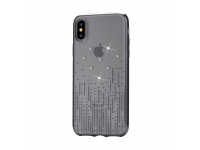 Husa TPU DEVIA Meteor pentru Apple iPhone X / Apple iPhone XS, Neagra - Transparenta, Blister