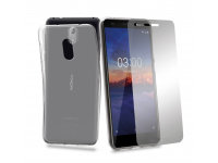 Husa TPU + Folie Ecran Tempered Glass Phonix Pentru Nokia 3.1 Transparenta Blister NK31PP