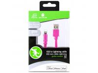 Cablu Date si Incarcare USB la Lightning Gecko Flat Glow, 1.2 m, Roz, Blister GG100132