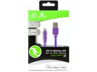 Cablu Date si Incarcare USB la Lightning Gecko Flat Glow, 1.2 m, Mov, Blister GG100133