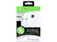 Cablu Date si Incarcare USB la Lightning Gecko Smart Led, 1.2 m, Alb, Blister GG100105