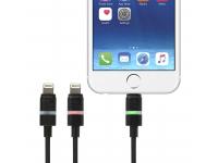 Cablu Date si Incarcare USB la Lightning Gecko Smart Led, 1.2 m, Negru, Blister GG100104