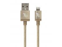 Cablu Date si Incarcare USB la Lightning Gecko Metallic, 1.2 m, Auriu, Blister GG100122