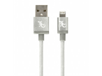 Cablu Date si Incarcare USB la Lightning Gecko Metallic, 1.2 m, Argintiu, Blister GG100123
