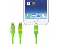Cablu Date si Incarcare USB la Lightning Gecko Smart Led, 1.2 m, Verde, Blister GG100106