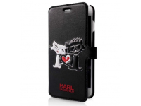 Husa Piele Karl Lagerfeld pentru Apple iPhone 7 / Apple iPhone 8, Choupette In Love, Neagra, Blister