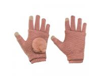 Manusi iarna Touchscreen Sensitive Fingerless roz