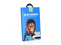 Folie Protectie Ecran Mr. Monkey Glass Apple iPhone X, Sticla securizata, Full Face, Full Glue, Strong HD, Neagra, Blister