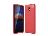 Husa TPU OEM Carbon pentru Nokia 3.1, Rosie, Bulk