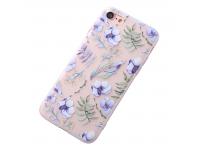 Husa TPU OEM Blue Flowers pentru Apple iPhone 7 / Apple iPhone 8, Multicolor, Bulk
