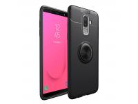 Husa TPU Lenuo Invisible Holder pentru Samsung Galaxy J8 J810, Neagra, Blister
