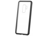 Husa Aluminiu OEM Magnetic Frame Hybrid cu spate din sticla pentru Samsung Galaxy S9+ G965, Neagra, Bulk