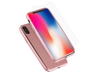 Pachet promotional Husa plastic Roz + Folie Protectie Ecran Tempered Glass pentru Apple iPhone X / Apple iPhone XS
