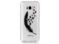 Husa TPU OEM Birds Feathers Samsung Galaxy S8+ G955, Neagra - Transparenta, Bulk