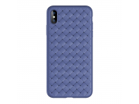 Husa TPU Rock Slim Weave pentru Apple iPhone X / Apple iPhone XS, Albastra, Blister