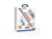 Incarcator Auto - Incarcator Retea cu cablu Lightning Ldnio 3 in 1, S100, 1 X USB, Alb, Blister