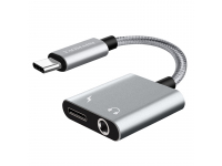 Adaptor Audio USB Type-C la 3.5 mm Yaomaisi Q17, port incarcare USB Type-C, Argintiu, Blister