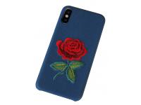 Husa OEM Blooming Rose pentru Apple iPhone X / Apple iPhone XS, Albastra, Bulk