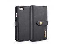 Husa Piele DG.MING Wallet Card Slots Stand pentru Apple iPhone 7 / Apple iPhone 8, Neagra, Bulk