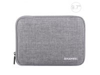 Husa Textil Haweel pentru Tableta 9.7 inci, Dimensiuni interioare 260 x 190 mm, Waterproof, Gri, Bulk