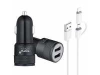 Incarcator Auto cu cablu Lightning - USB Tip-C Totu Design, 2 X USB, Negru, Blister