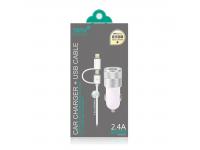 Incarcator Auto cu cablu Lightning - USB Tip-C Totu Design, 2 X USB, Alb, Blister