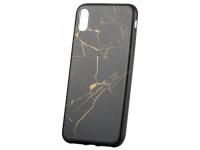 Husa TPU OEM Marble Apple iPhone X / Apple iPhone XS, Aurie - Neagra, Bulk