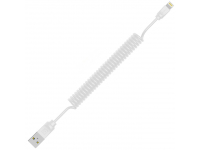 Cablu Date si Incarcare USB la Lightning Remax RC-117i Radiance Pro, Spiralat, 1 m, Alb, Blister