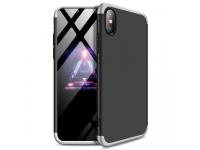 Husa Plastic OEM Full Cover pentru Apple iPhone XS Max, Argintie - Neagra, Bulk