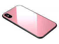 Husa TPU OEM cu spate din sticla pentru Apple iPhone XS Max, Roz, Bulk