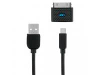 Cablu Date si Incarcare USB la A30 pini - USB la MicroUSB iGO PS00316-0002, 1.2 m, Negru, Blister