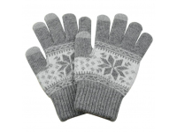 Manusi iarna Touchscreen Sensitive Charming Winter gri deschis