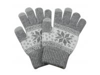Manusi iarna Touchscreen Sensitive Charming Winter gri deschis