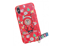 Husa TPU OEM Christmas Bear pentru Apple iPhone X / Apple iPhone XS, Rosie, Bulk