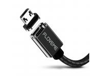 Cablu Incarcare USB la MicroUSB Floveme Magnetic, 3A, 1 m, Negru, Blister