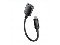 Adaptor OTG USB la USB Type-C Rock, 1.1 m, Negru, Blister