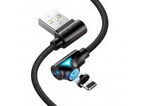 Cablu Incarcare USB la Lightning Floveme Magnetic 360, 1 m, Negru, Bulk