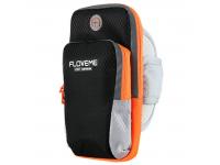 Husa Textil Floveme Sport pentru Telefon 5 inci - 6 inci, Neagra - Portocalie, Blister