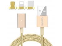 Cablu Date si Incarcare USB la Lightning - USB la MicroUSB - USB la USB Type-C Floveme 3 in 1, 2.4A, 1 m, Auriu, Blister