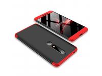 Husa Plastic OEM Full Cover pentru Nokia 6.1, Neagra - Rosie, Bulk