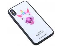 Husa Plastic - TPU Totu Design cu spate din sticla Unicorn pentru Apple iPhone X / Apple iPhone XS, Multicolor, Blister