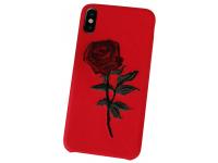 Husa Piele - TPU OEM Blooming Rose pentru Apple iPhone X / Apple iPhone XS, Rosie, Bulk