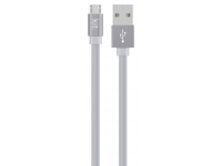 Cablu Date si Incarcare USB la MicroUSB Kit Flat USBALUGR, 1 m, Argintiu, Blister