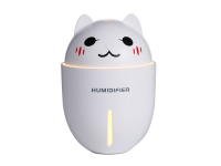 Umidificator camera Cute Cat, 320ml, cu temporizator - lampa de noapte - mini ventilator, Alb, Blister