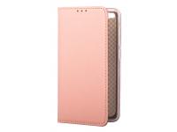 Husa Piele OEM Smart Magnet pentru Samsung J6 Plus (2018) J610, Roz Aurie, Bulk