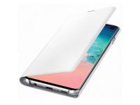 Husa Textil Samsung Galaxy S10 G973, Led View, Alba, Blister EF-NG973PWEGWW