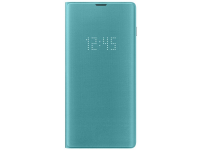 Husa Textil Samsung Galaxy S10+ G975, Led View, Turquoise, Blister EF-NG975PGEGWW