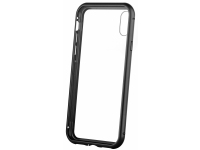 Husa Aluminiu OEM Magnetic Frame Hybrid cu spate din sticla pentru Apple iPhone XR, Neagra, Bulk